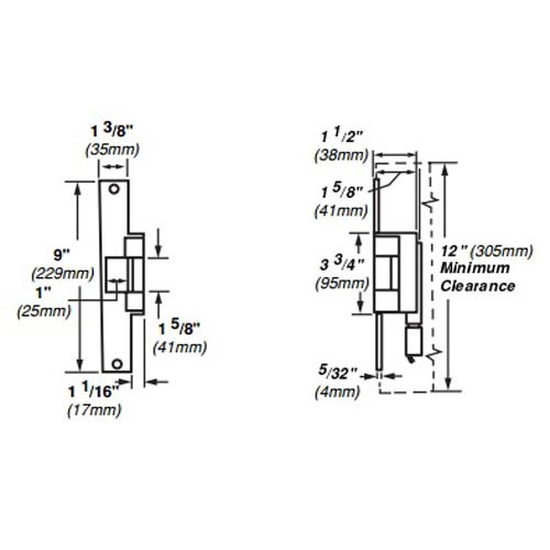 6215-12VDC-US32 Von Duprin Electric Strike for Mortise or Cylindrical Locksets in Bright Stainless Steel Finish