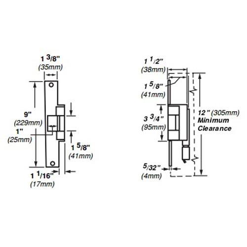 6215-FS-12VDC-US10 Von Duprin Electric Strike for Mortise or Cylindrical Locksets in Satin Bronze Finish