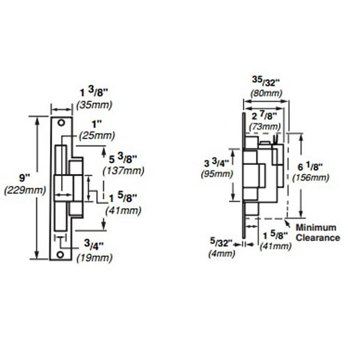 6216-FS-DS-24VDC-US32 Von Duprin Electric Strike for Mortise Locksets in Bright Stainless Steel Finish