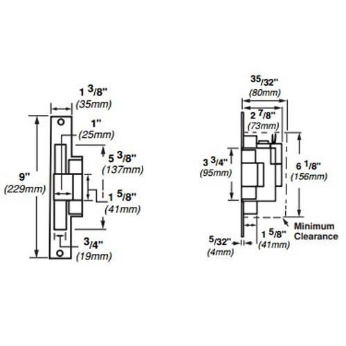 6216-FS-12VDC-US3 Von Duprin Electric Strike for Mortise Locksets in Bright Brass Finish