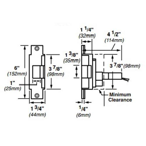 6223-FS-12VDC-US4 Von Duprin Electric Strike for Mortise or Cylindrical Locksets in Satin Brass Finish