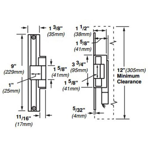 6224AL-FS-DS-12VDC-US4 Von Duprin Electric Strike for Mortise or Cylindrical Locksets in Satin Brass Finish