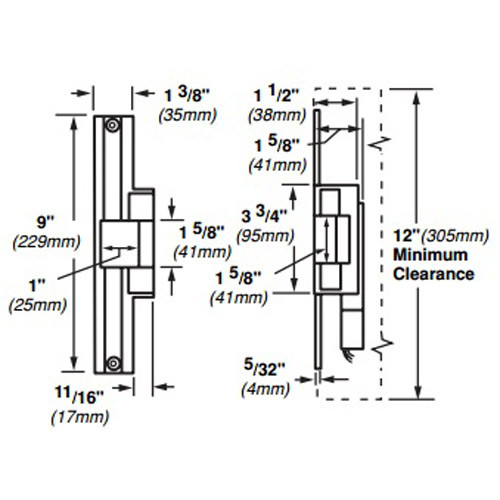 6224AL-FS-DS-LC-12VDC-US32 Von Duprin Electric Strike for Mortise or Cylindrical Locksets in Bright Stainless Steel Finish