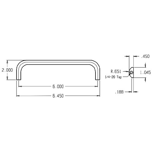37-630 Don Jo Half Round Door Pull with 6 inch center to center length