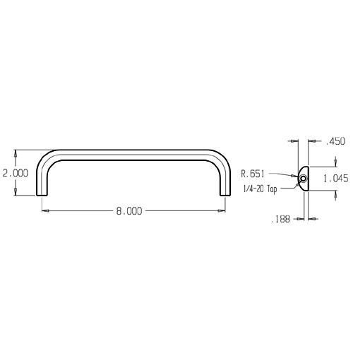 38-630 Don Jo Half Round Door Pull with 8 inch center to center length