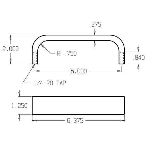 30-628 Don Jo Flat Bar Door Pull with 6 inch center to center length