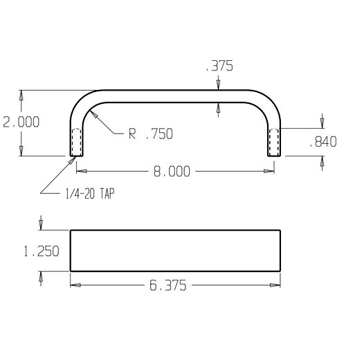 31-605 Don Jo Flat Bar Door Pull with 8 inch center to center length