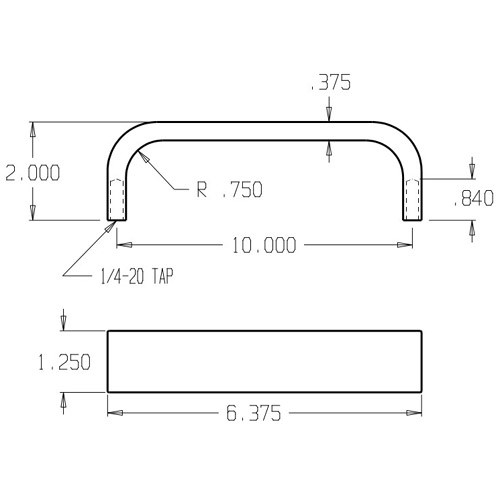32-630 Don Jo Flat Bar Door Pull with 10 inch center to center length