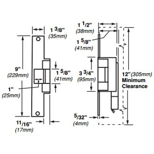 6226-DS-12VDC-US32 Von Duprin Electric Strike for Mortise or Cylindrical Locksets in Bright Stainless Steel Finish