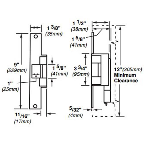 6226-12VDC-US4 Von Duprin Electric Strike for Mortise or Cylindrical Locksets in Satin Brass Finish