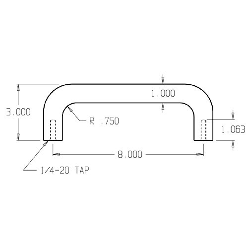 """19-629 Don Jo 1"""" Round Door Pull with 8"""" center to center length"""