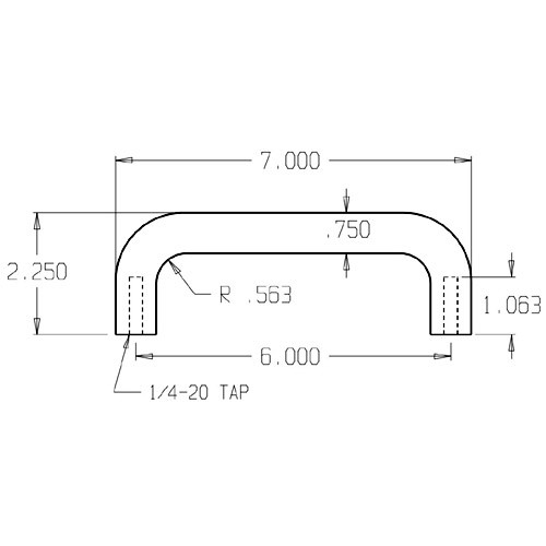"""15-606 Don Jo 3/4"""" Round Door Pull with 6"""" center to center length"""