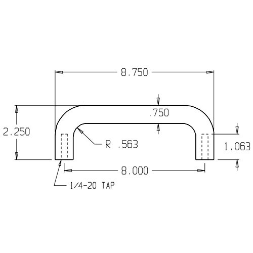 """16-629 Don Jo 3/4"""" Round Door Pull with 8"""" center to center length"""