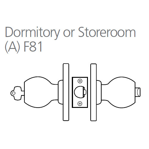 8K37A6CS3605 Best 8K Series Dormitory/Storeroom Heavy Duty Cylindrical Knob Locks with Tulip Style in Bright Brass