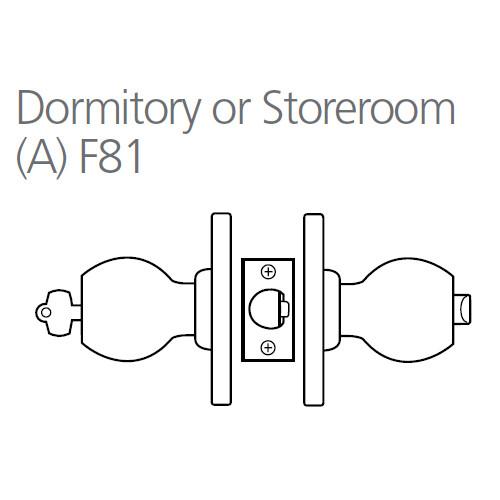 8K37A4DSTK606 Best 8K Series Dormitory/Storeroom Heavy Duty Cylindrical Knob Locks with Round Style in Satin Brass