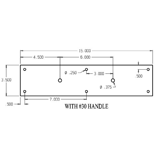 """7030-605 Don Jo Pull Plates with Flat Pulls and 6"""" center to center length"""