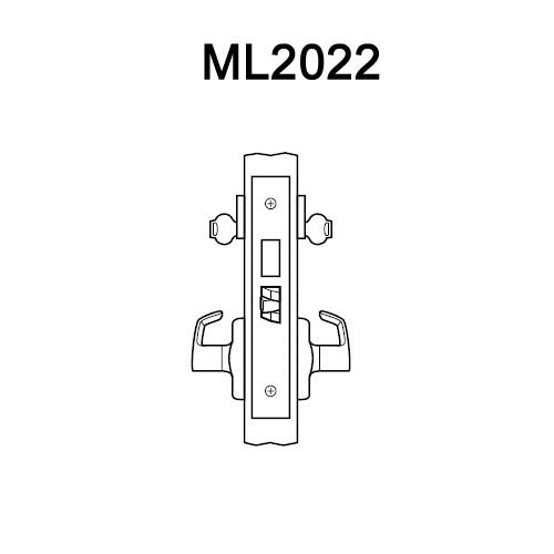 ML2022-PSR-618 Corbin Russwin ML2000 Series Mortise Store Door Locksets with Princeton Lever with Deadbolt in Bright Nickel