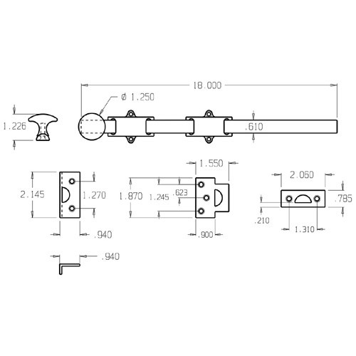 """1636-605 Don Jo Dutch Door Bolt with size of 18 x 1 5/8"""" (inches)"""
