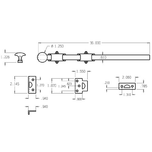 """1639-613 Don Jo Dutch Door Bolt with size of 18 x 1 5/8"""" (inches)"""