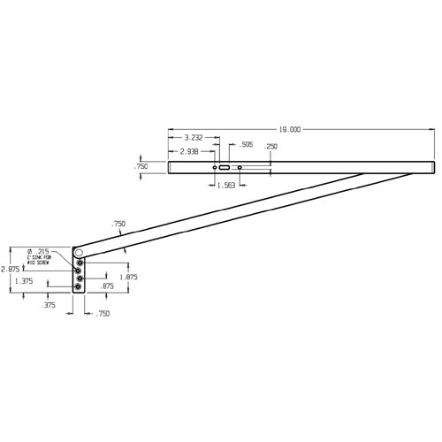3124-630 Don Jo Surface Stop Dimensional View
