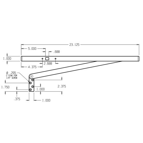 3323-630 Don Jo Surface Stop Dimensional View