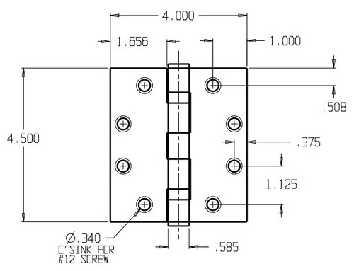 PB74540-652 Don Jo Full Mortise Plain Bearing Dimensional View