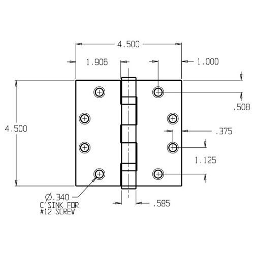 PB74545-600 Don Jo Full Mortise Plain Bearing Dimensional View