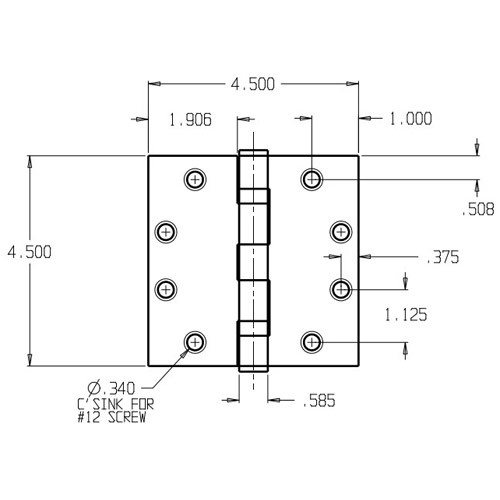 PB94545-630 Don Jo Full Mortise Plain Bearing Dimensional View