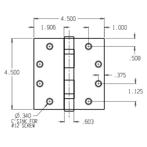 BB74545-639 Don Jo Full Mortise Ball Bearing Dimensional View
