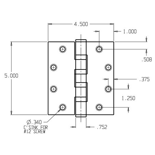 HWBB95045-630 Don Jo Full Mortise Ball Bearing Dimensional View