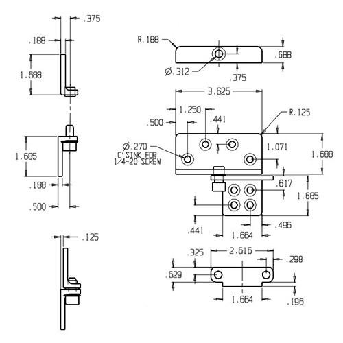 HRP-2-LHR-626 Don Jo Hinge Reinforcing Pivot Dimensional View