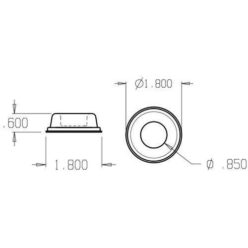 1401-White Don Jo Rubber Wall Bumper Dimensional View