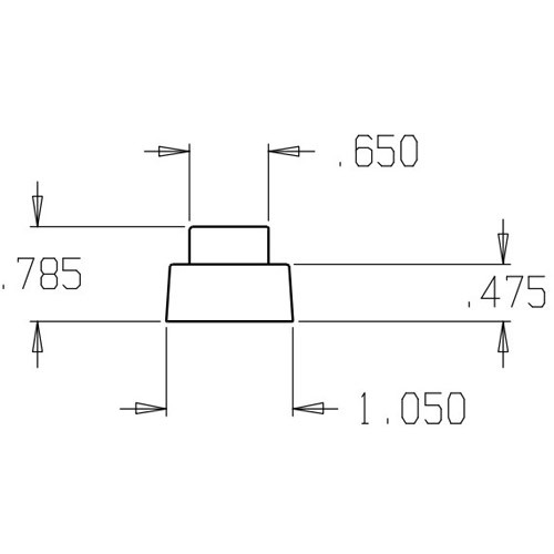 1468-Gray Don Jo Replacement Rubber Dimensional View