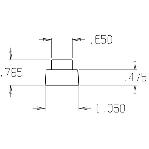 1469-Gray Don Jo Replacement Rubber Dimensional View