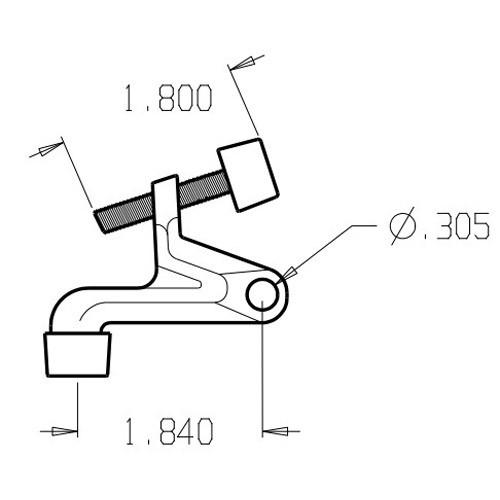 1505-613 Don Jo Hinge Stop Dimensional View