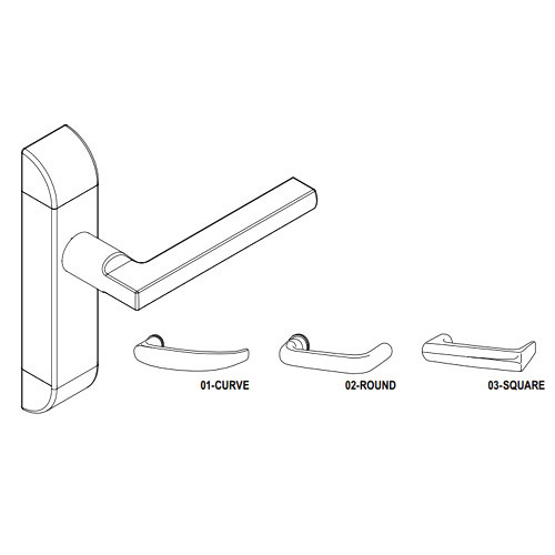 4600-03-522-US32 Adams Rite Heavy Duty Square Deadlatch Handles