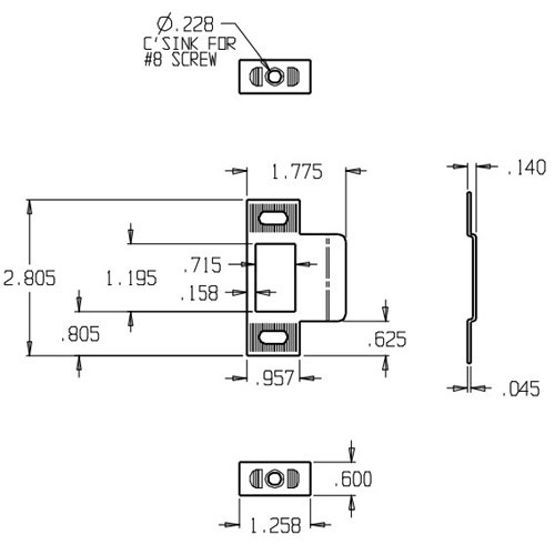 9450-BP Don Jo Adjustable Strike Plate Dimensional View