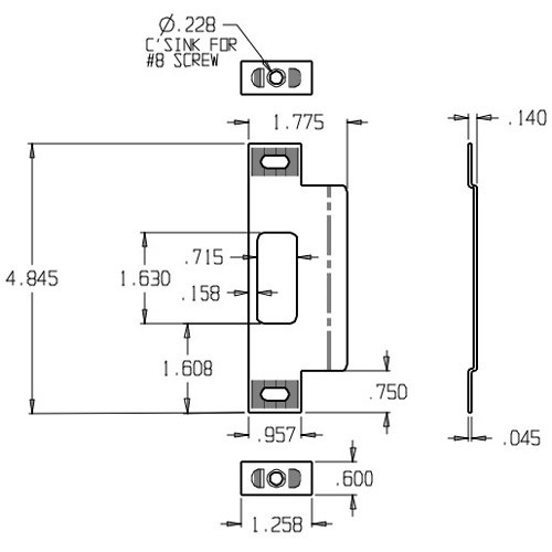 9454-CP Don Jo Adjustable Strike Plate Dimensional View