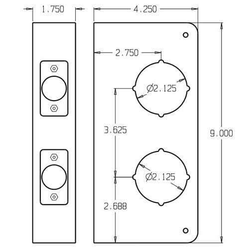 481-10B-CW Don Jo Classic Wrap Around Plate Dimensional View
