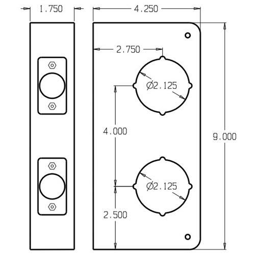 943-10B-CW Don Jo Classic Wrap Around Plate Dimensional View