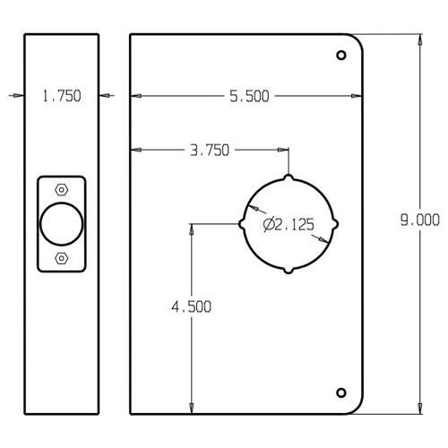 33-10B-CW Don Jo Wrap-Around Plate Dimensional View