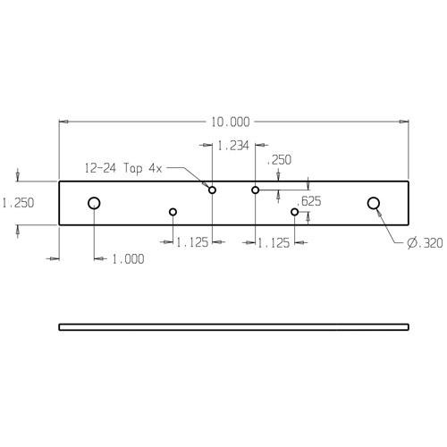 HR-215-4-1/2 Don Jo Blank Hinge Reinforcement Dimensional View