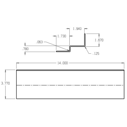 CR-300 Don Jo Reinforcement Plate Dimensional View