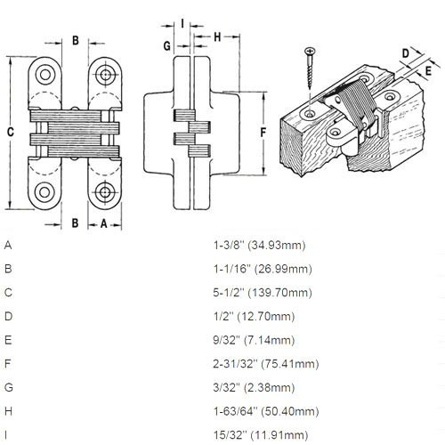 220AS-US15 Soss Invisible Hinge