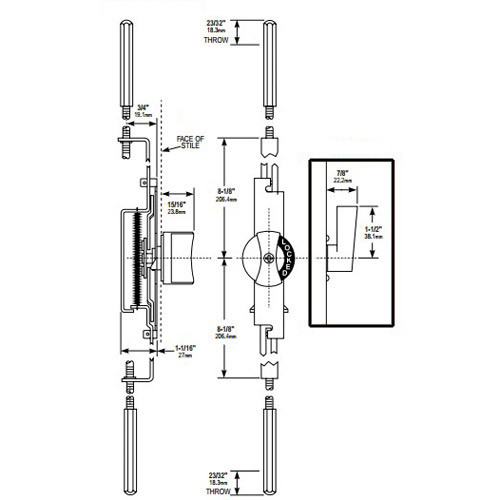MS1881-02-119 Adams Rite Flushbolt Dimensional View