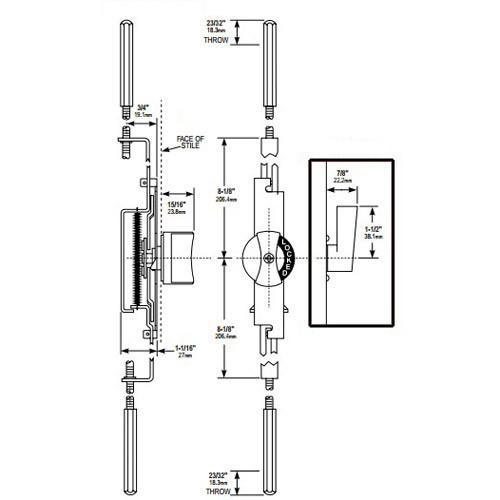MS1881-02-121 Adams Rite Flushbolt Dimensional View