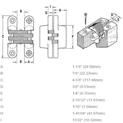 218PT1-US26 Soss Invisible Hinge