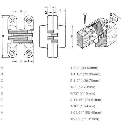 220PT1-US10BL Soss Invisible Hinge