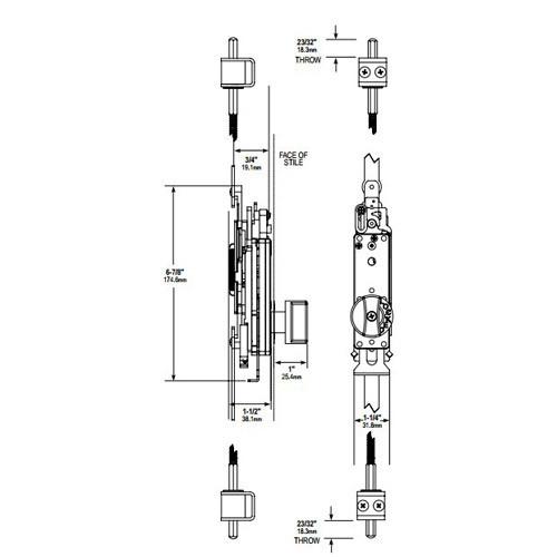 MS2181-07-121 Adams Rite Flushbolt Dimensional View