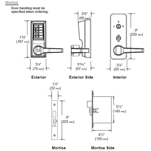 Simplex Pushbutton Mortise Lock with Lever